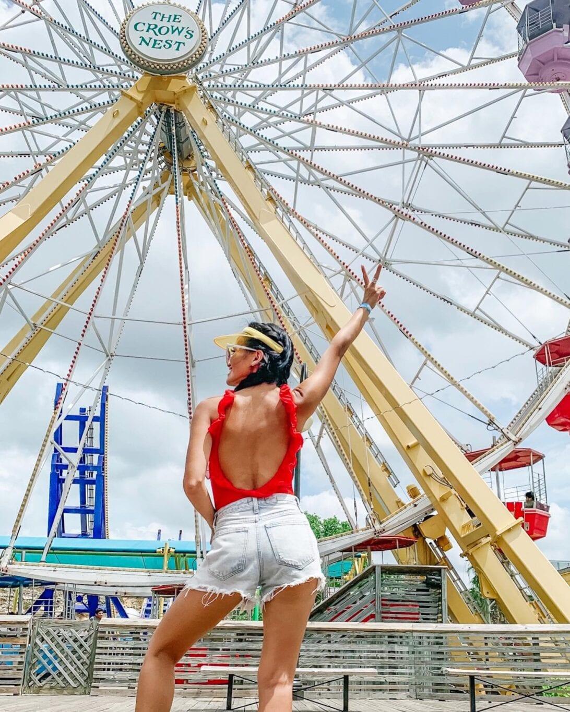 Ferris wheel, RED SWIMSUIT, CUT OFF SHORTS