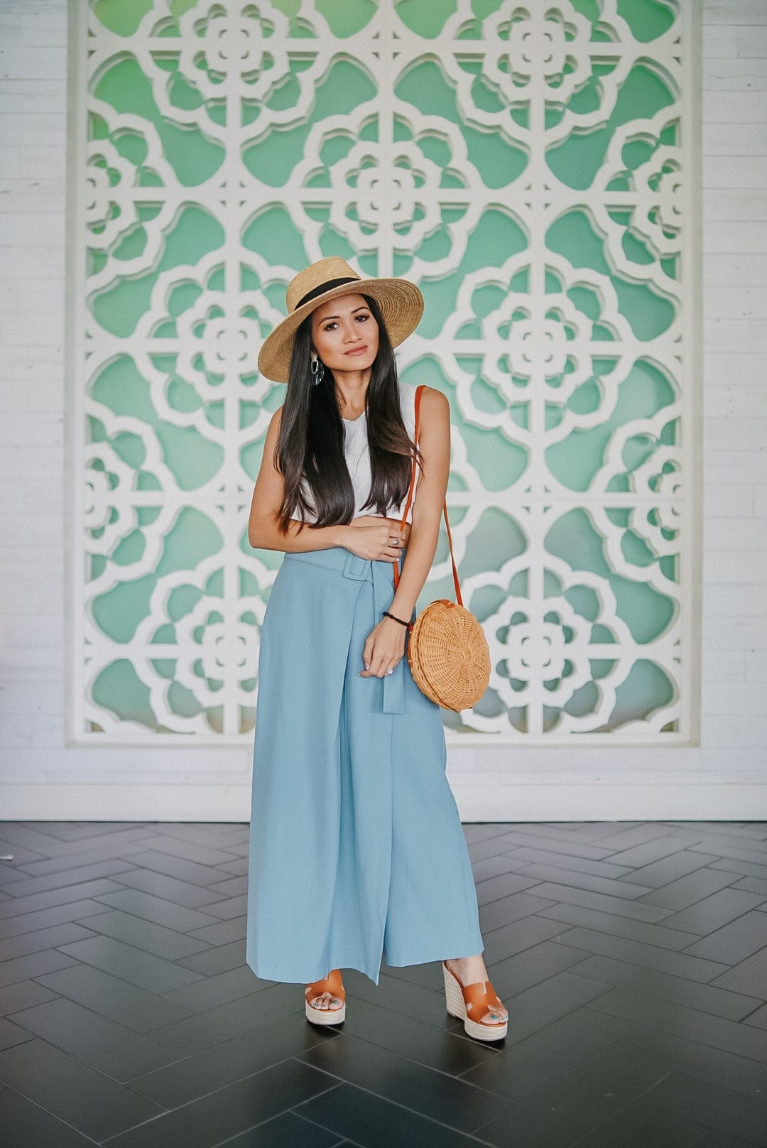 straw hat, summer bag, summer style, wide leg pants, DSW wedges