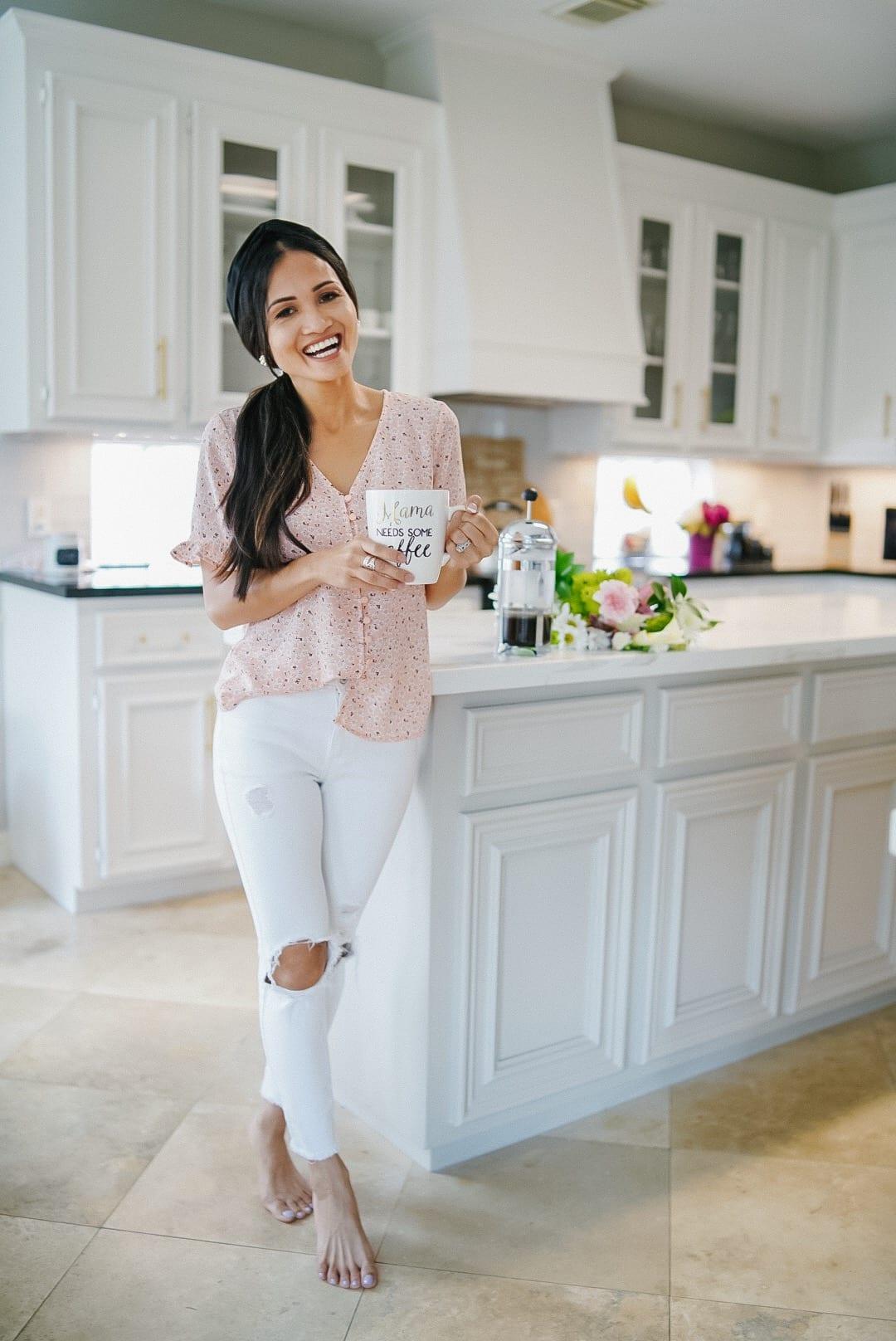 momma needs some coffee mug, white kitchen, kitchen design
