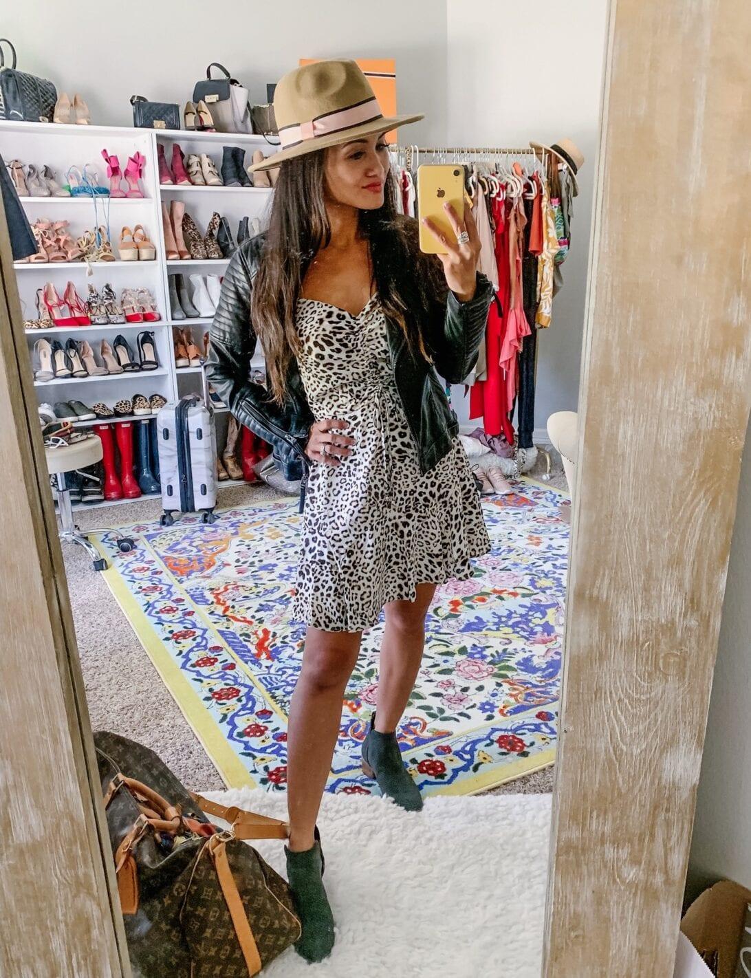 Row A Cinch Front Minidress, LEOPARD DRESS, DOLCE VITA BOOTIES, Louis Vuitton KEEPALL