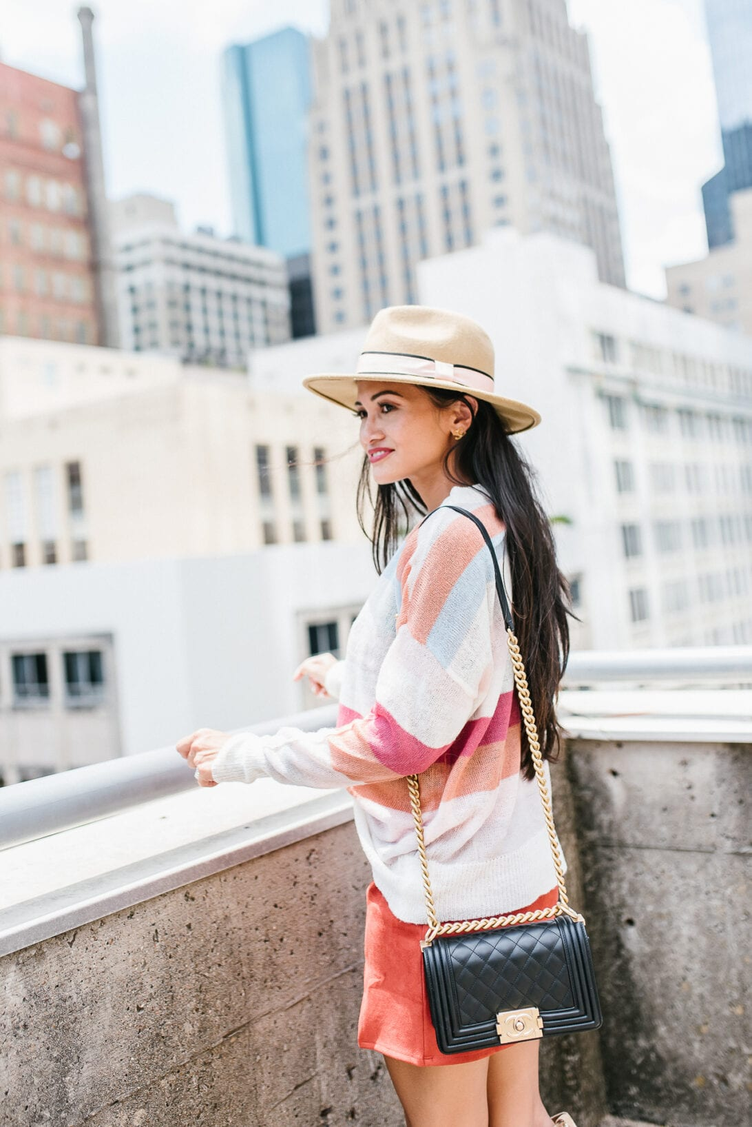 chanel boy bag, fall outfit, fall style, mini skirt, luxury handbag review
