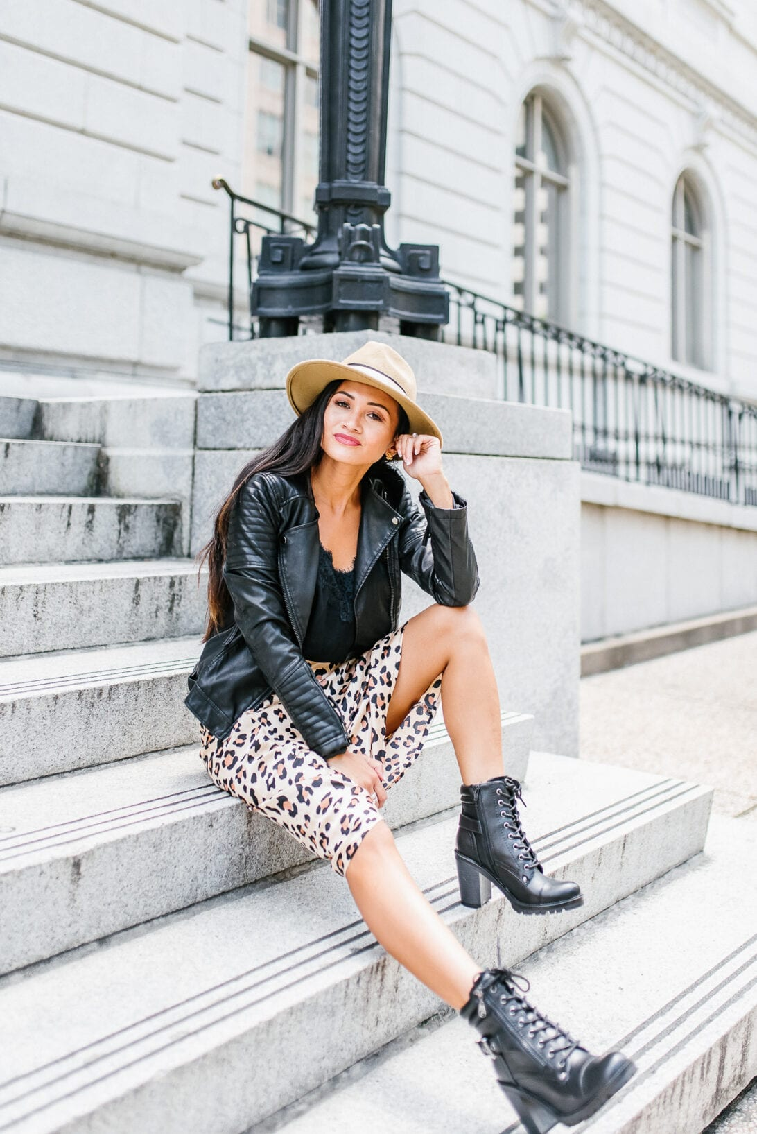 LACE UP BOOTS, FAUX LEATHER JACKET, FEDORA, HOW TO STYLE LEOPARD SKIRT