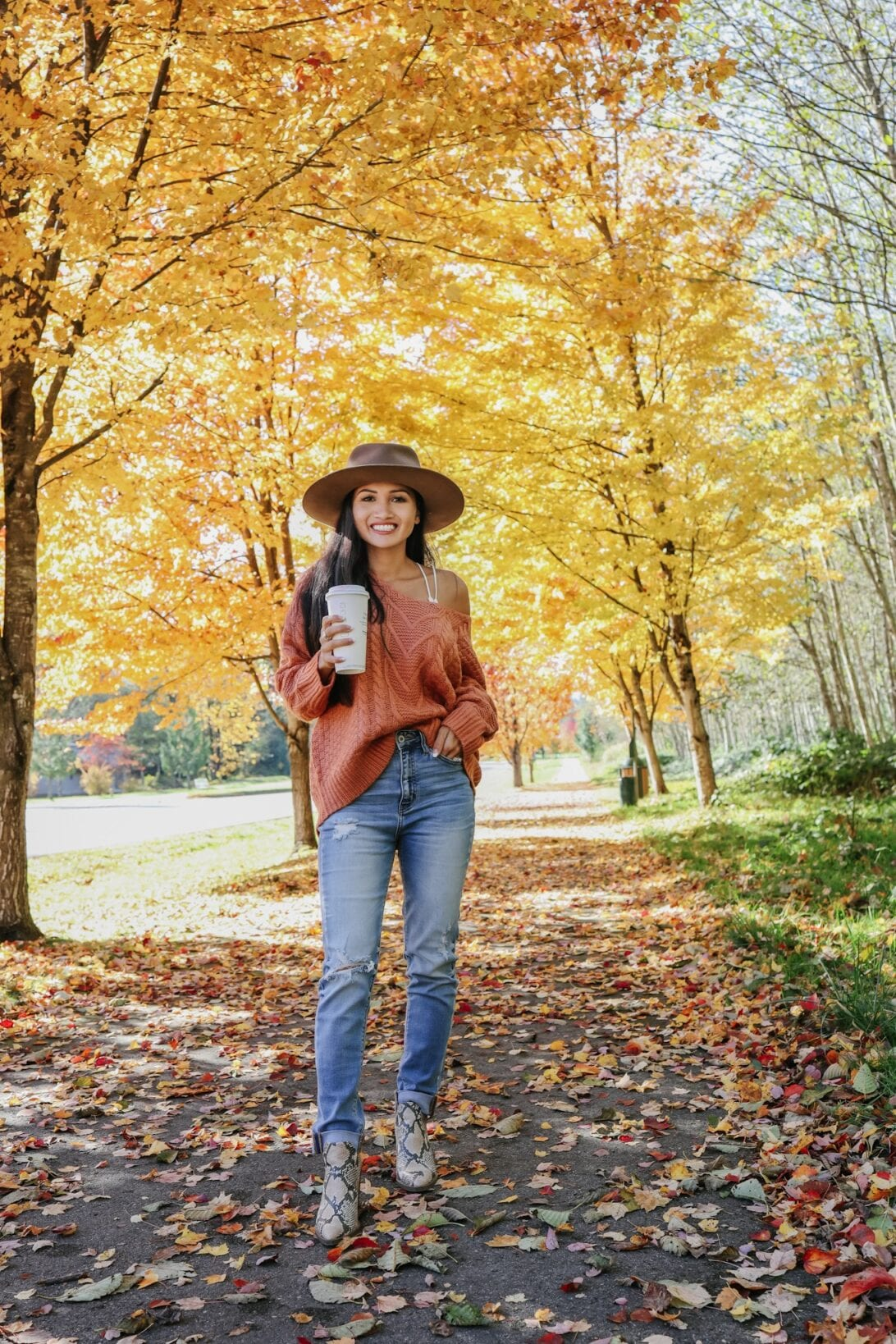 Snoqualmie fall trees, fall fashion, orange sweater, fall style, snake booties, Vince Comuto boots