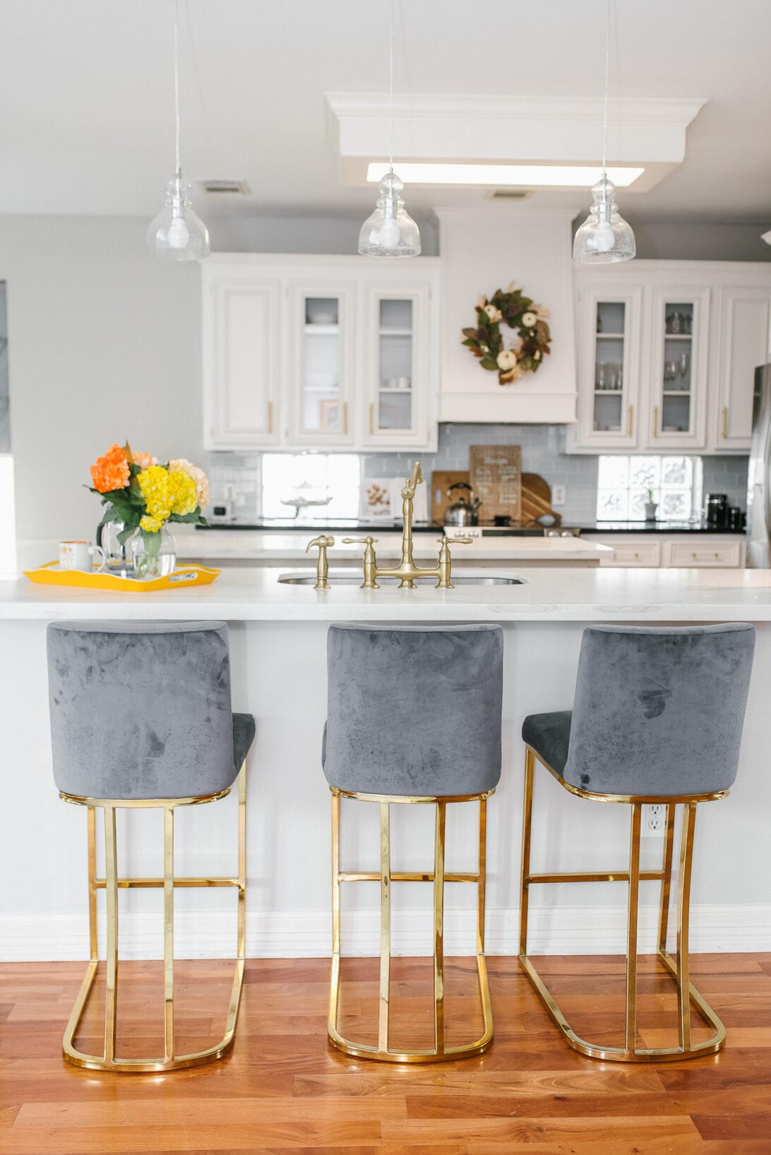 "Noah Seppich 26"" Bar Stool, white countertops, high bar stool, counter bar stools, kitchen remodel, home design, home furniture"