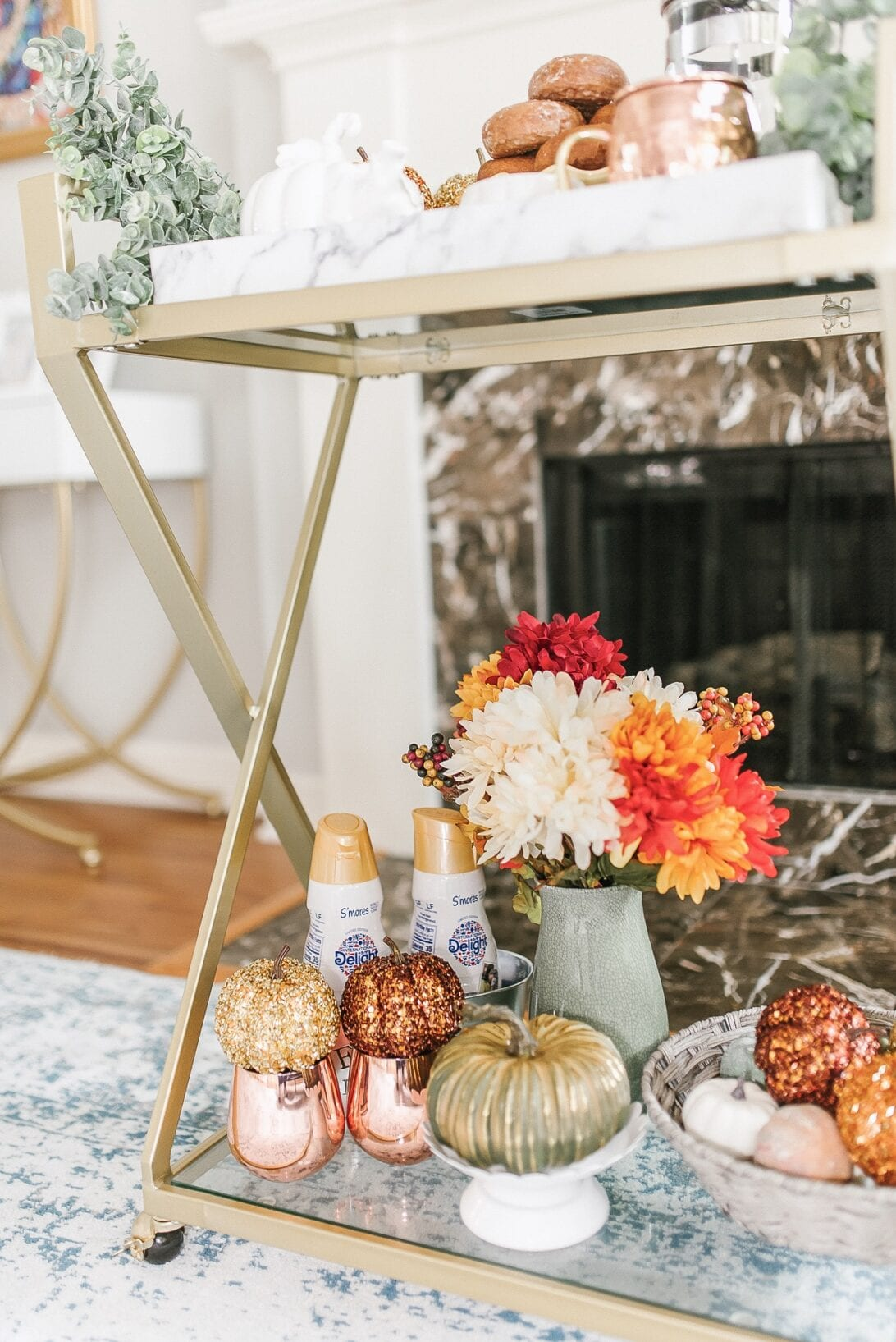 gold bar cart, decorative pumpkins, fall decor, fall home decor