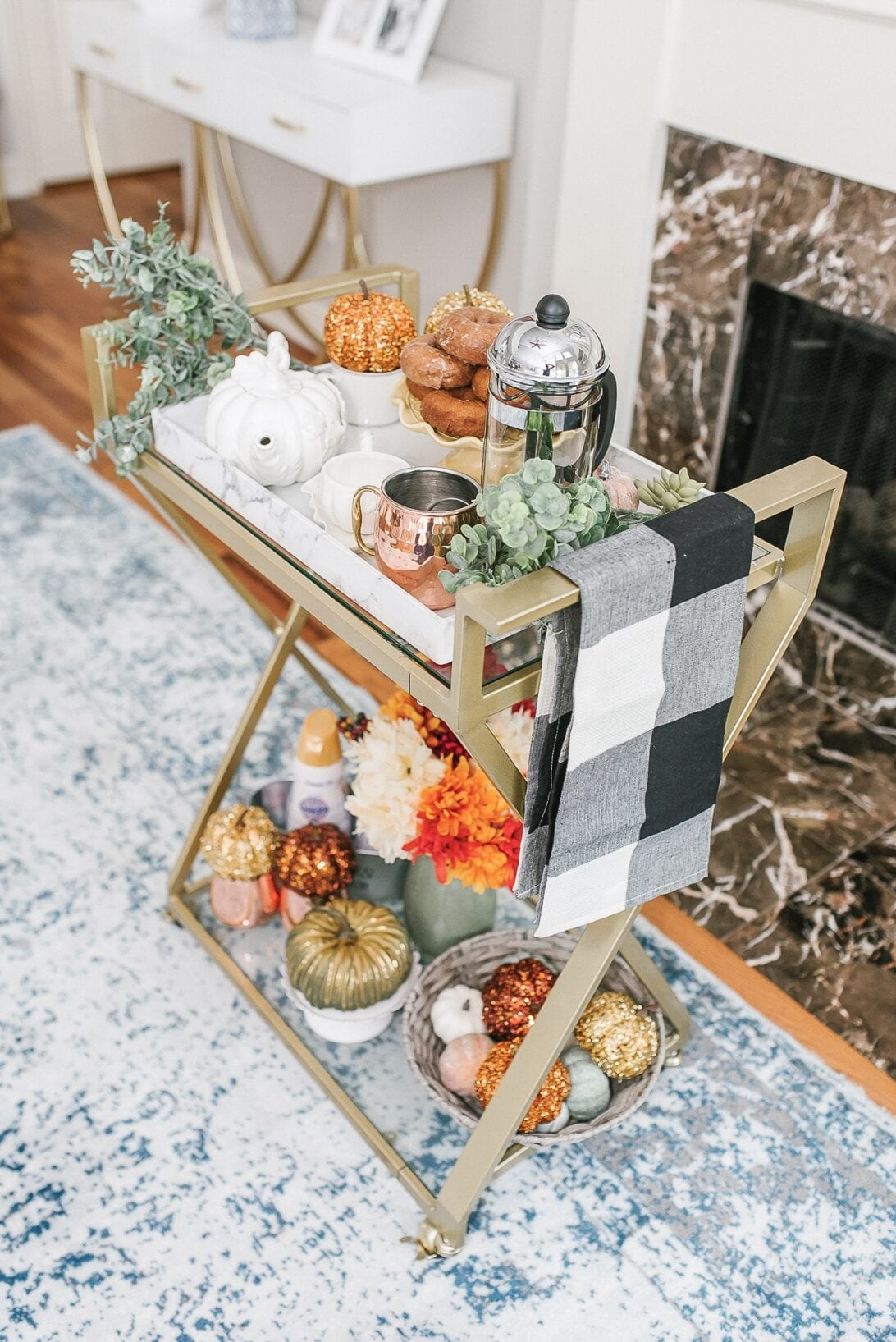 coffee bar cart styling, gold pumpkins, how to style a bar cart