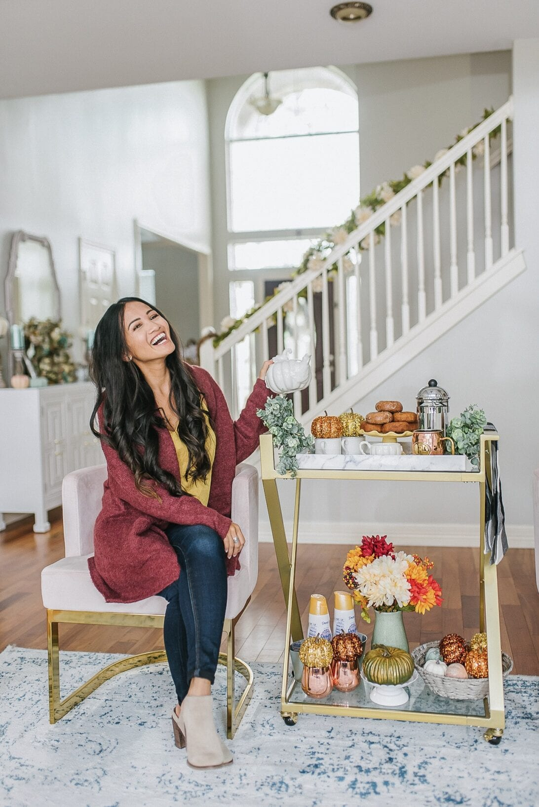 serving cart, gold bar cart styling, fall pumpkins