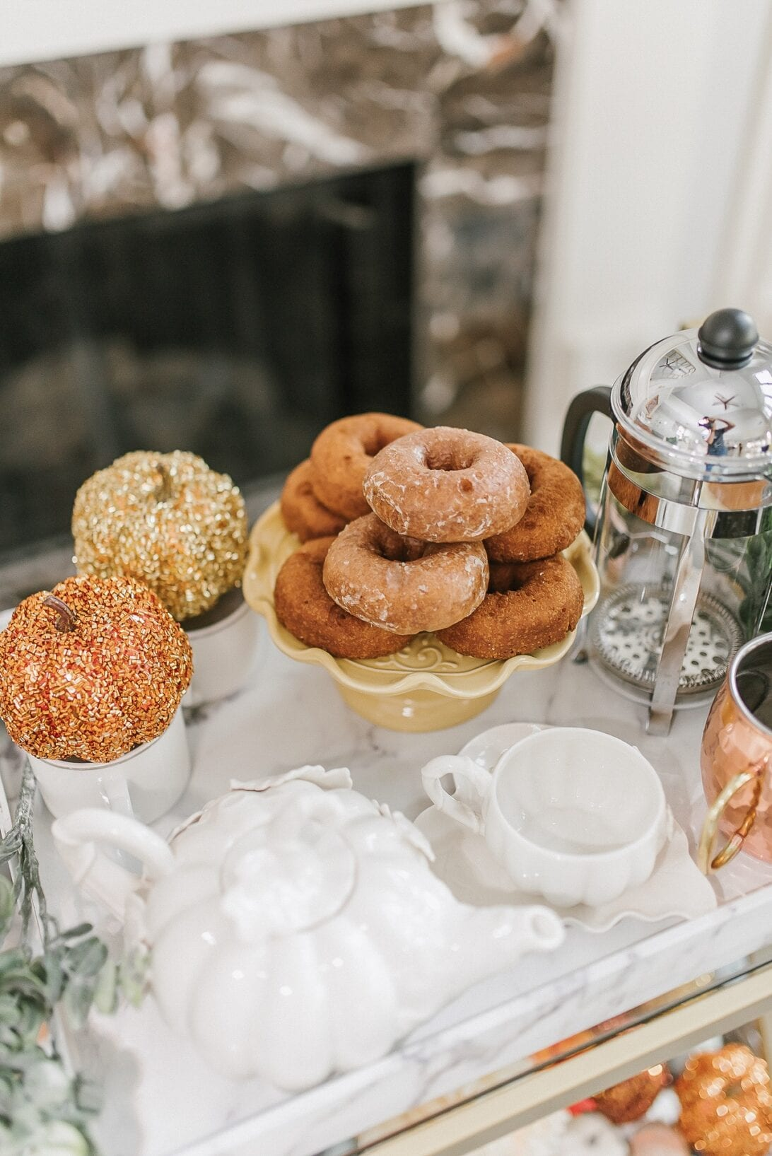 fall cider donuts, apple cider, fall food tray, pumpkin tea set