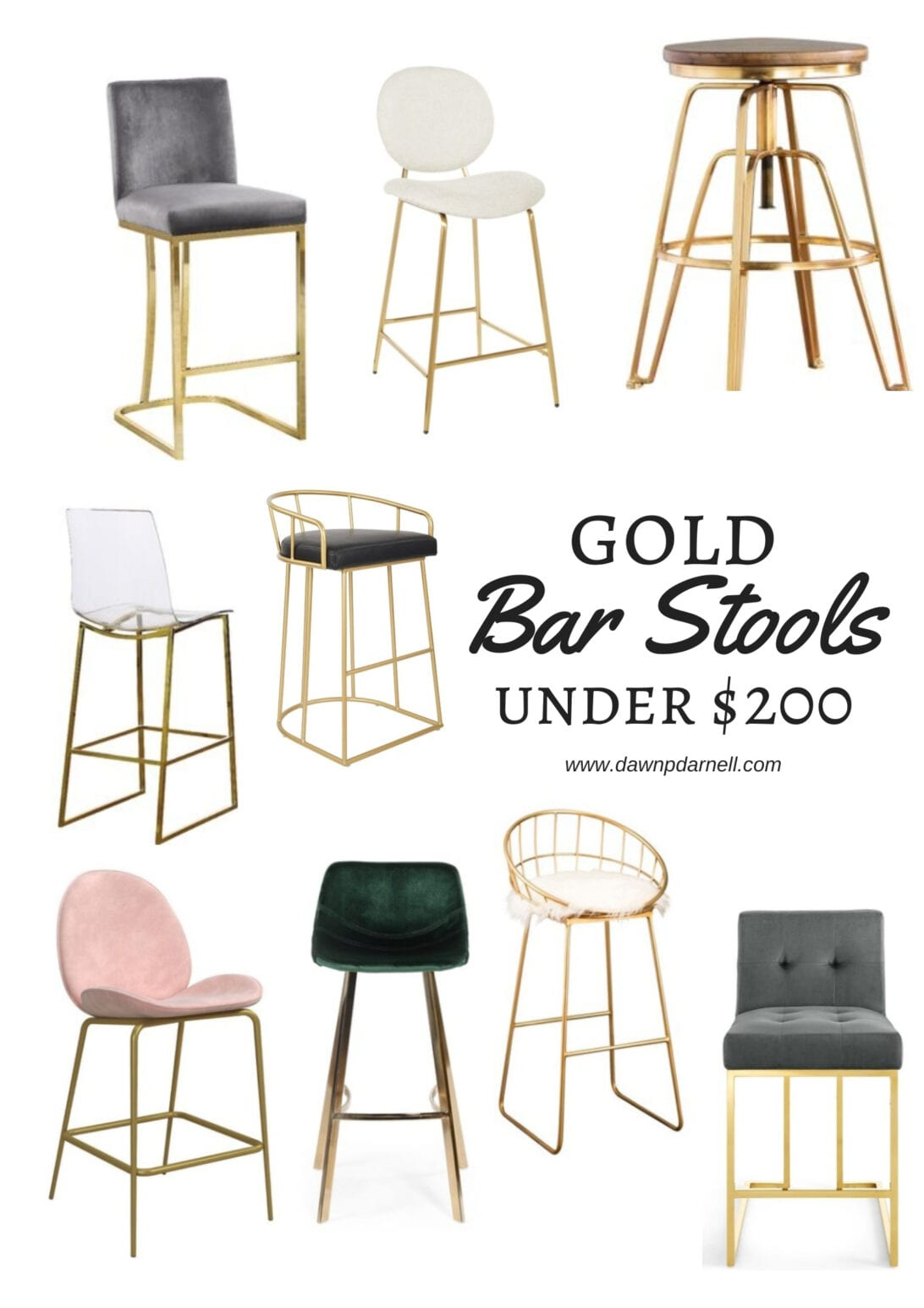 bar stools, gold furniture, budget furniture, gold bar stools, Wayfair, Target