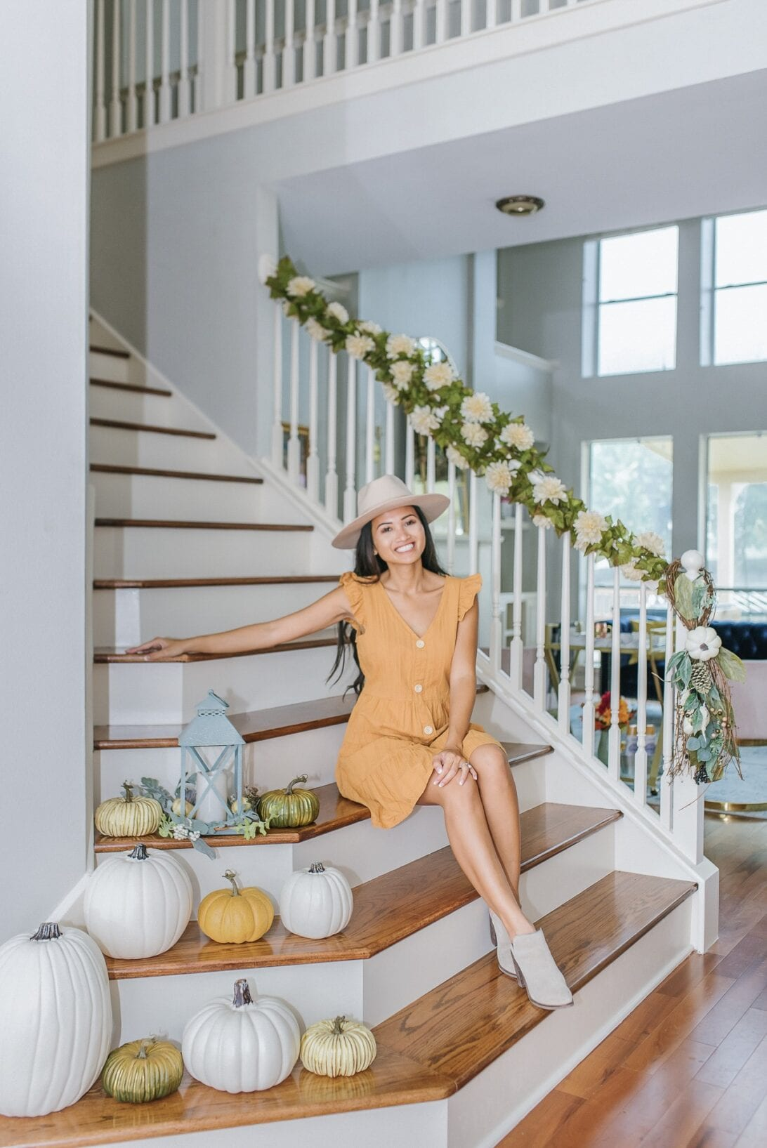 gold pumpkins, white pumpkins, white stair banisters