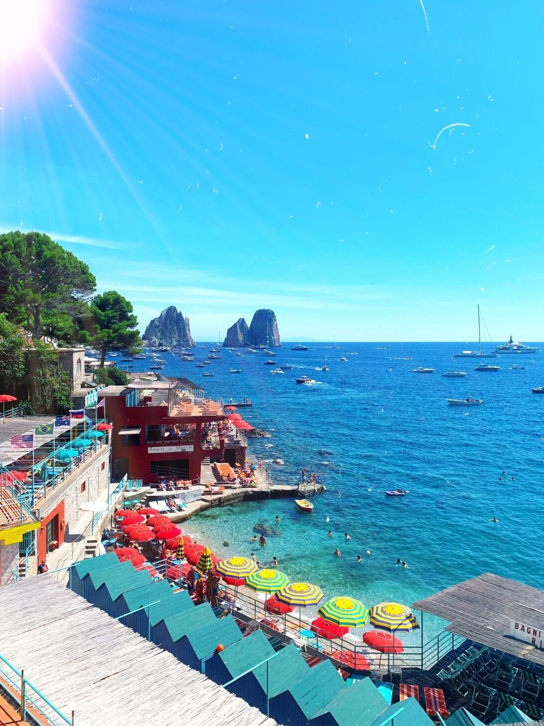 Marina Piccola restaurants, Capri bay