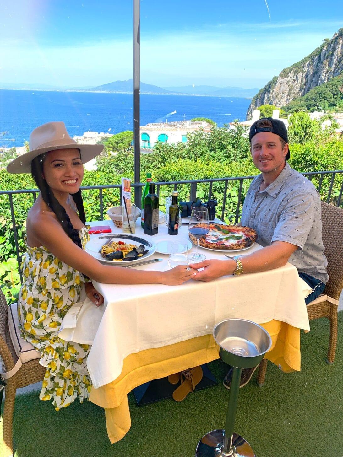 Restaurants in Capri, lemon trees