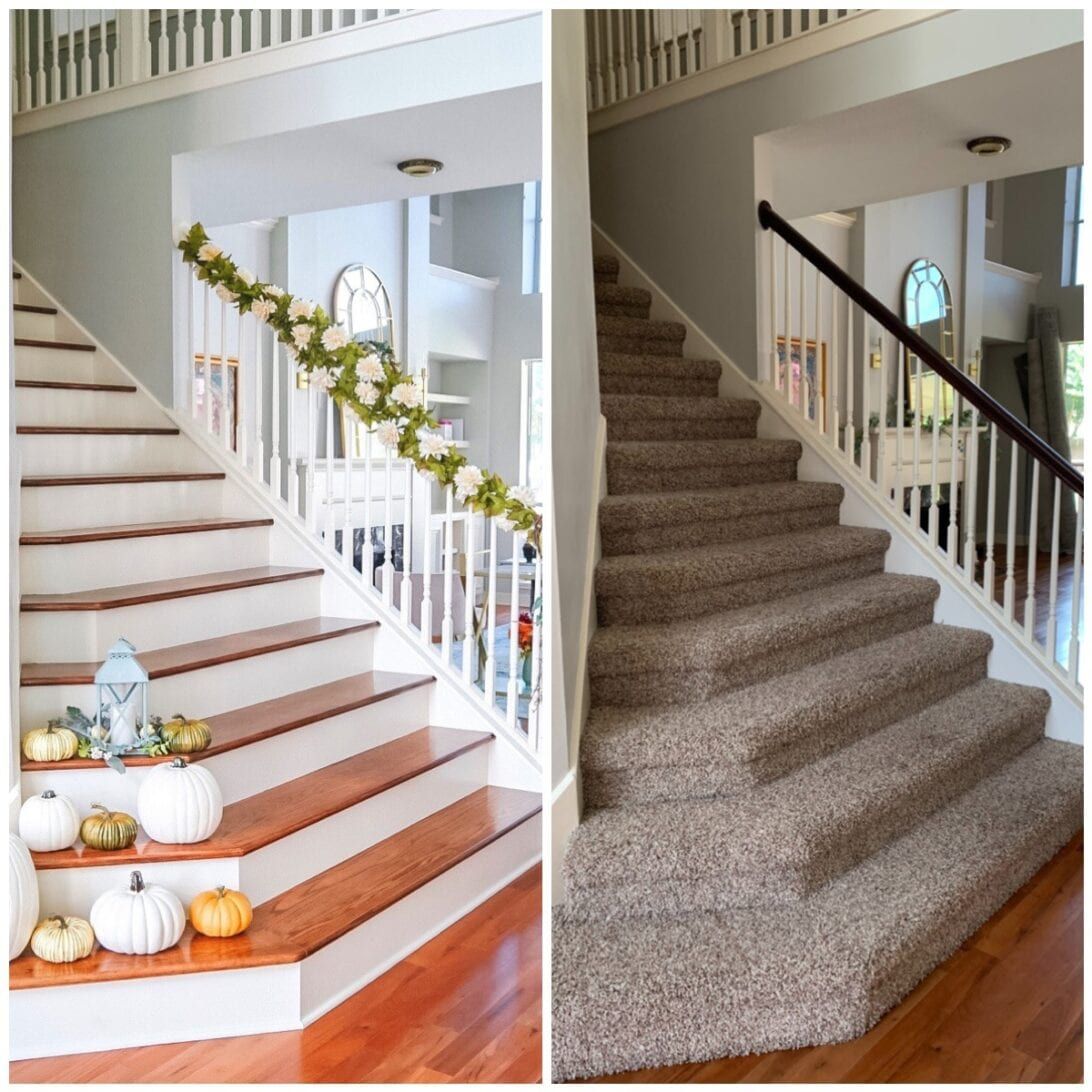 stairs remodel, wooden stairs remodel, foyer, entryway