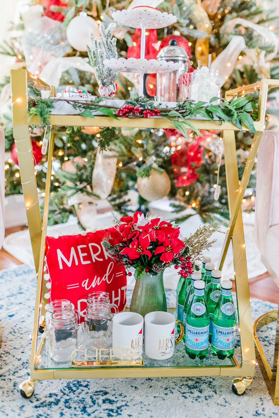 holiday bar cart, Christmas bar cart