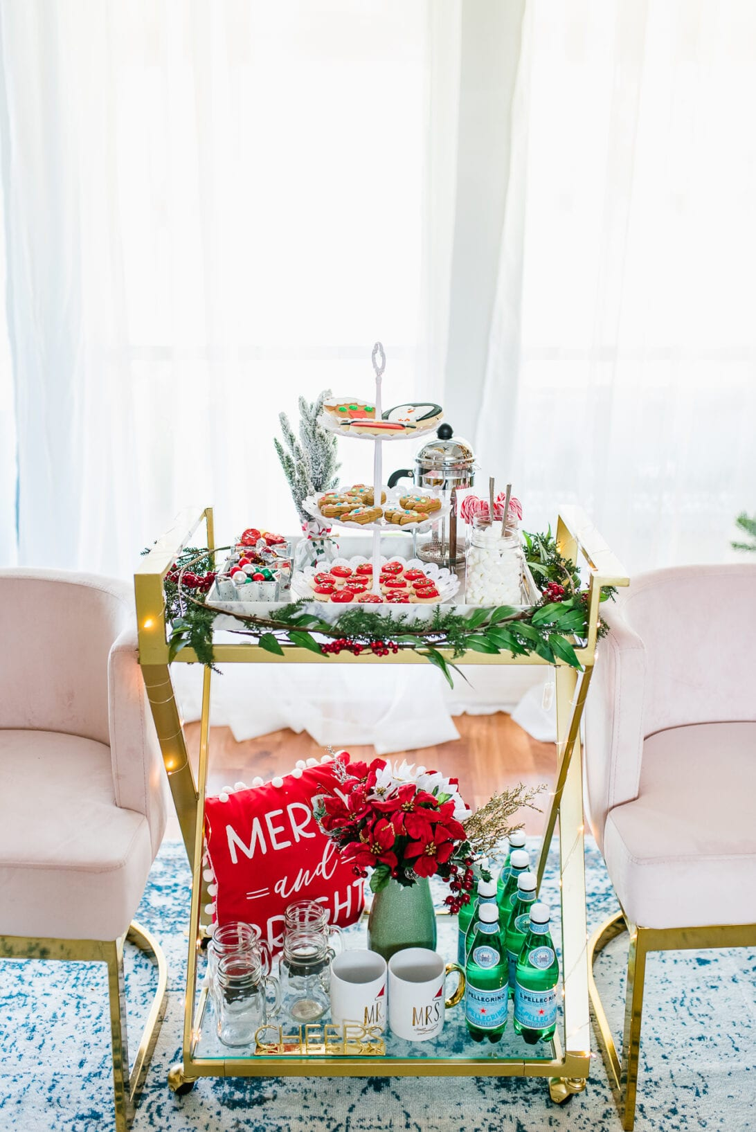 holiday bar cart set up, gold bar cart