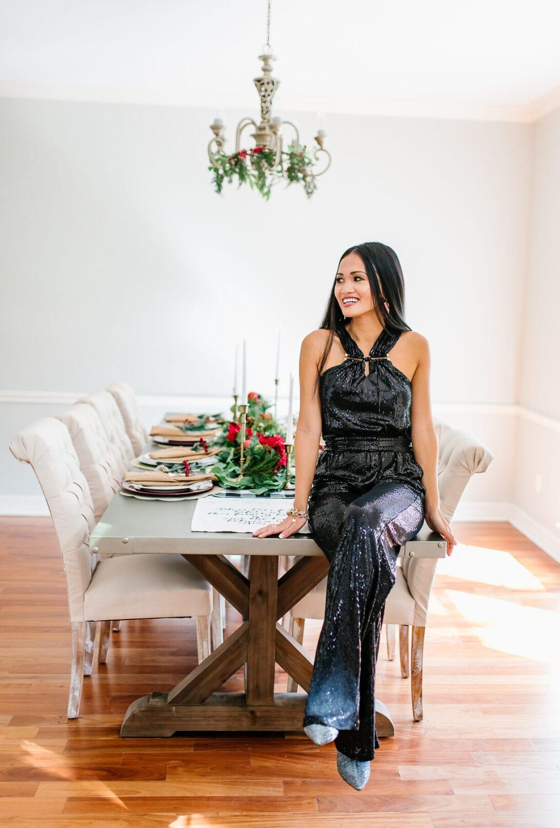 sequin jumpsuit, dining room,