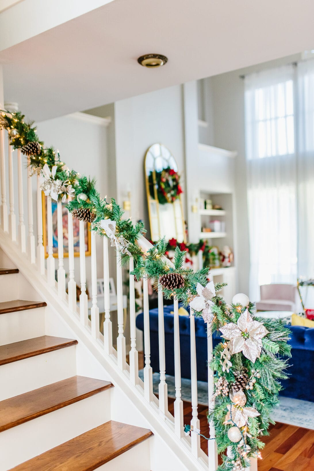 Christmas railing decoration, Christmas stairs garland