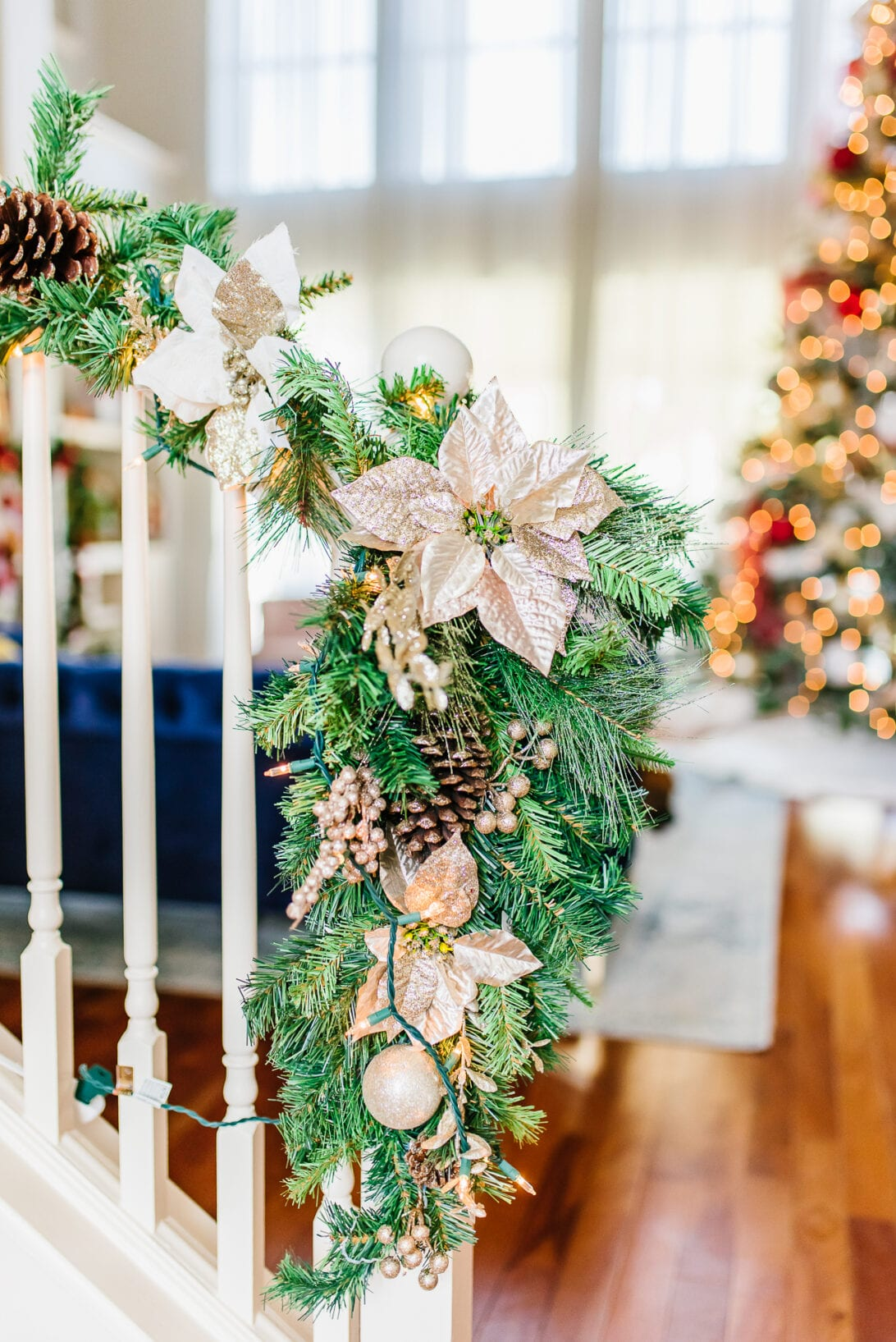 Christmas stair decoration, stair banisters