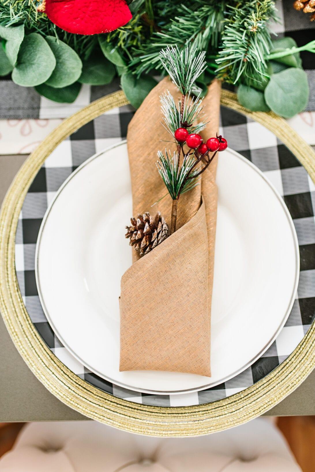 rustic table setting, rustic christmas table setting