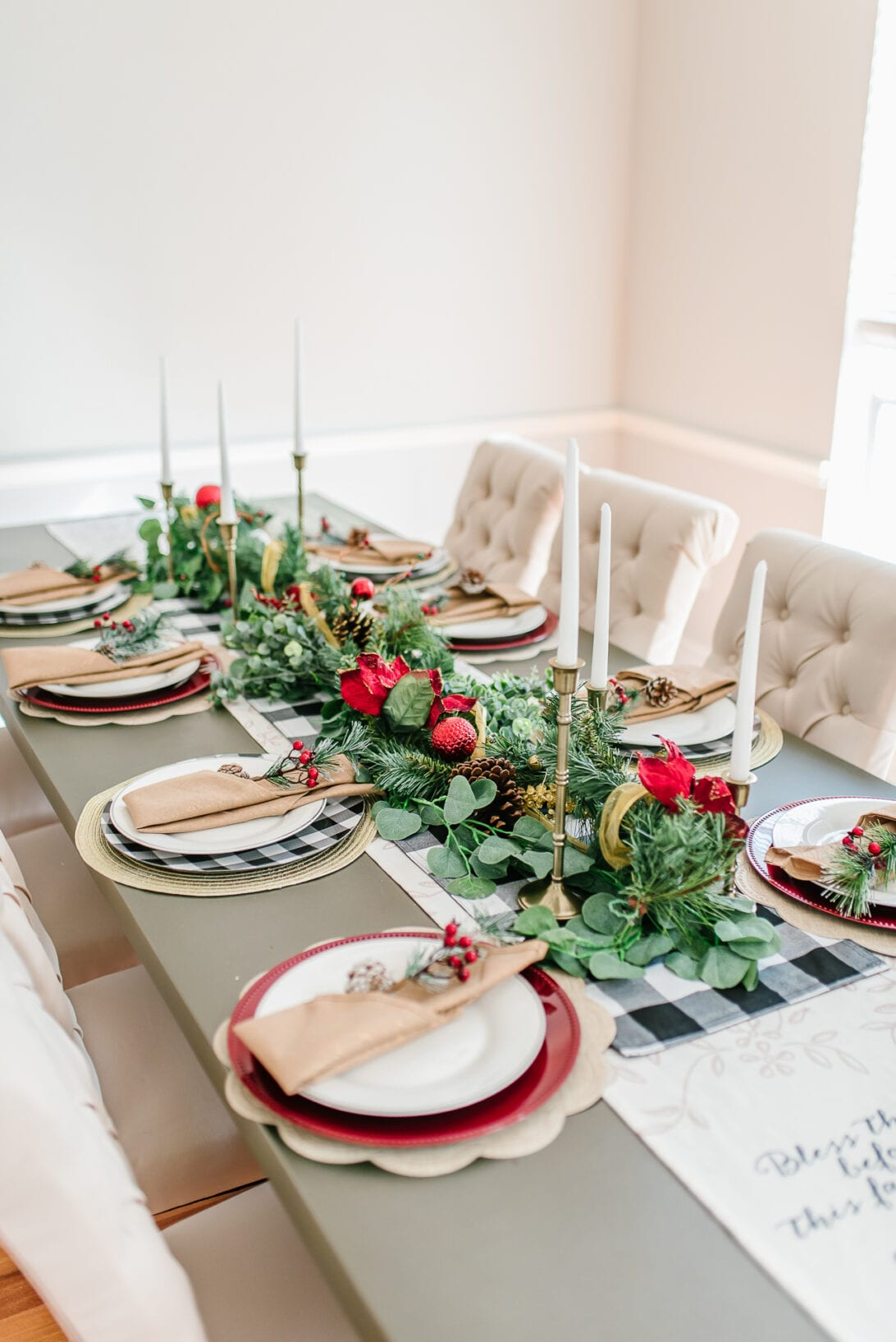 red and gold tablescape, Christmas table decor