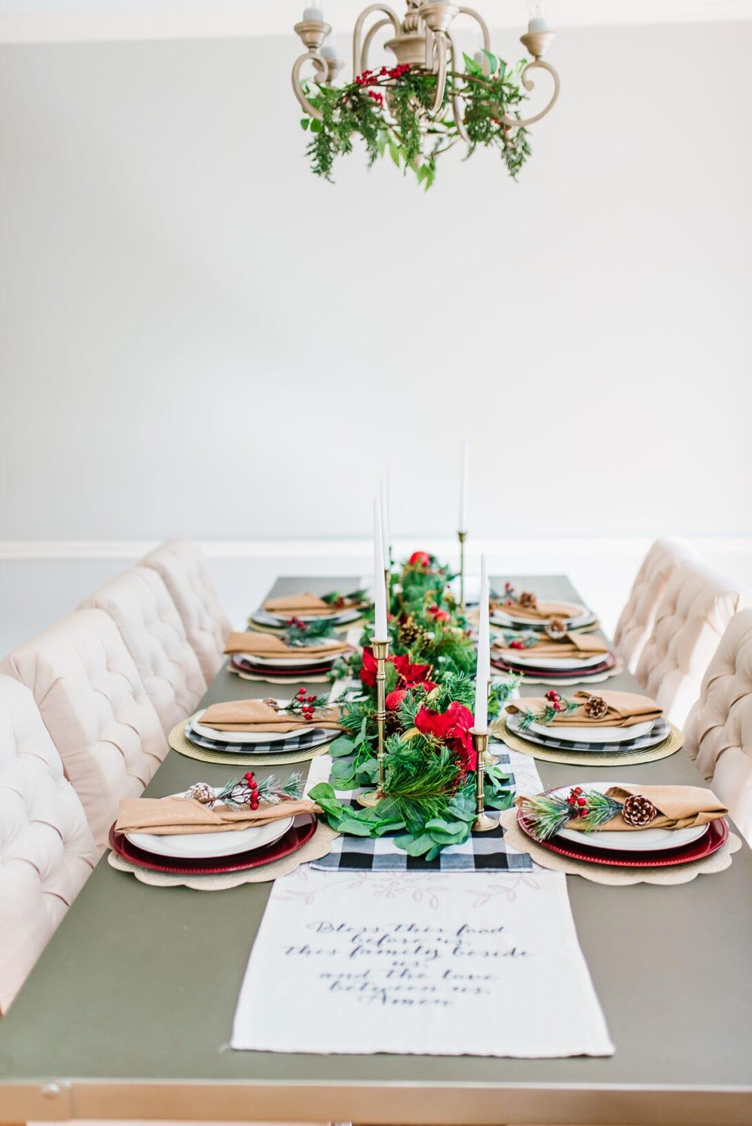 Christmas tablescape, chandelier wreath, christmas chandelier, buffalo check table runner