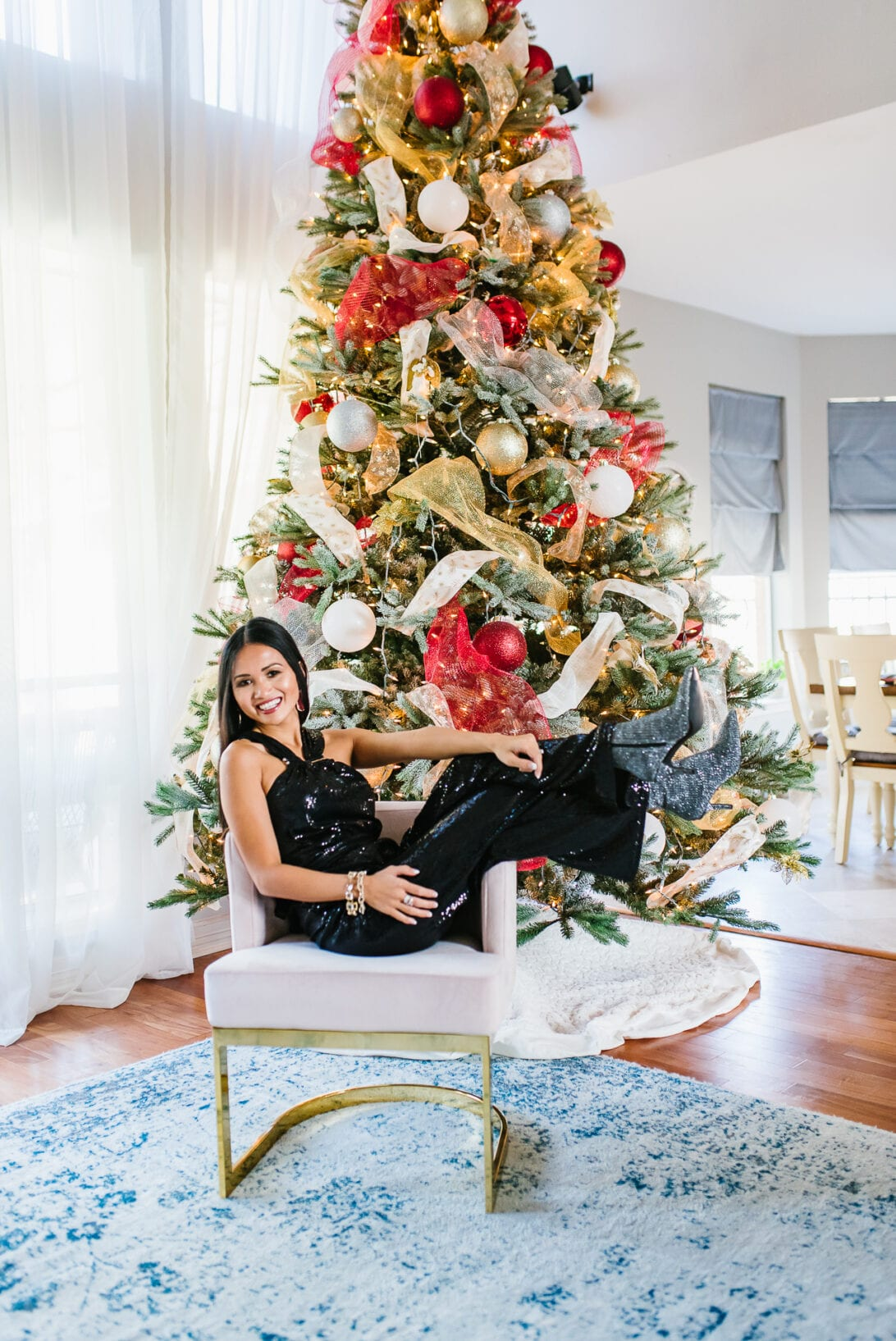 Christmas card photo, Christmas tree photography, sequin boots, glittery boots
