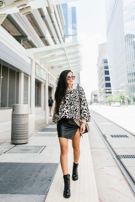 Houston blogger, Houston, Houston fashion blogger, leopard sweater, combat boots,