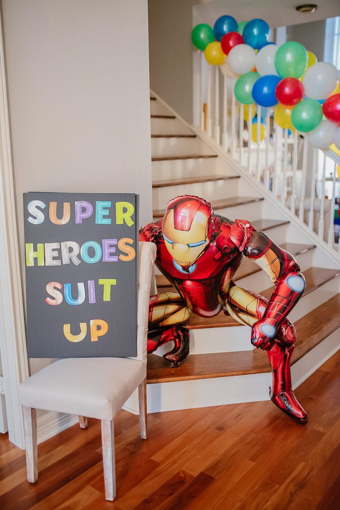 IRON MAN BALLOON, SUPERHERO BIRTHDAY SIGN