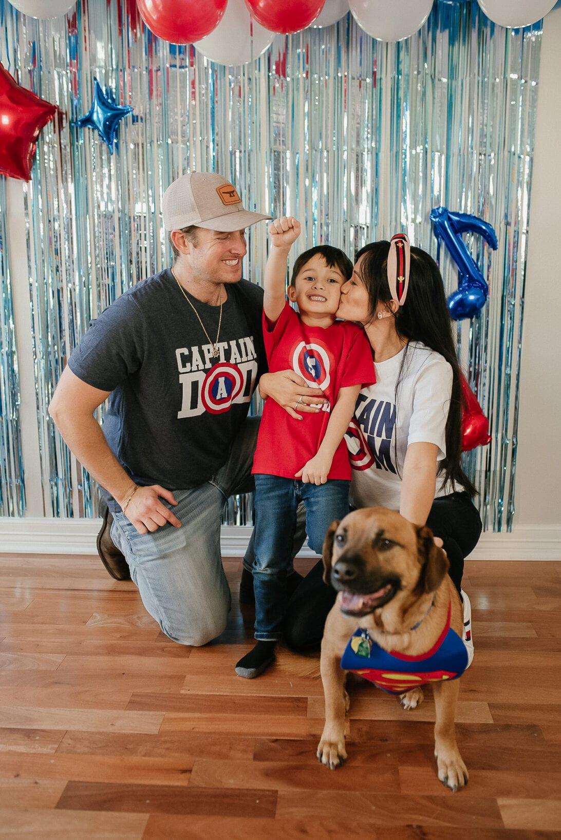 Captain America Dad, Captain America Mom, Captain America birthday boy, superman dog