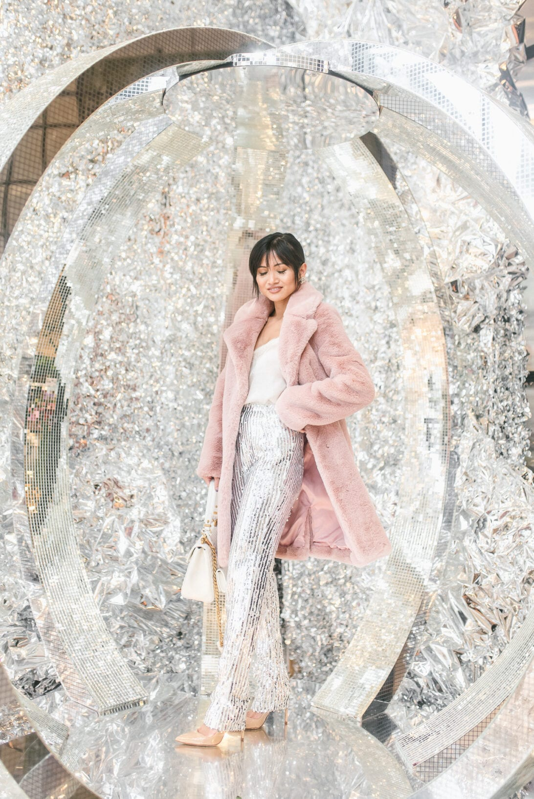 PINK JACKET, PINK COAT, FUR COAT, SEQUIN PANTS, SILVER PANTS