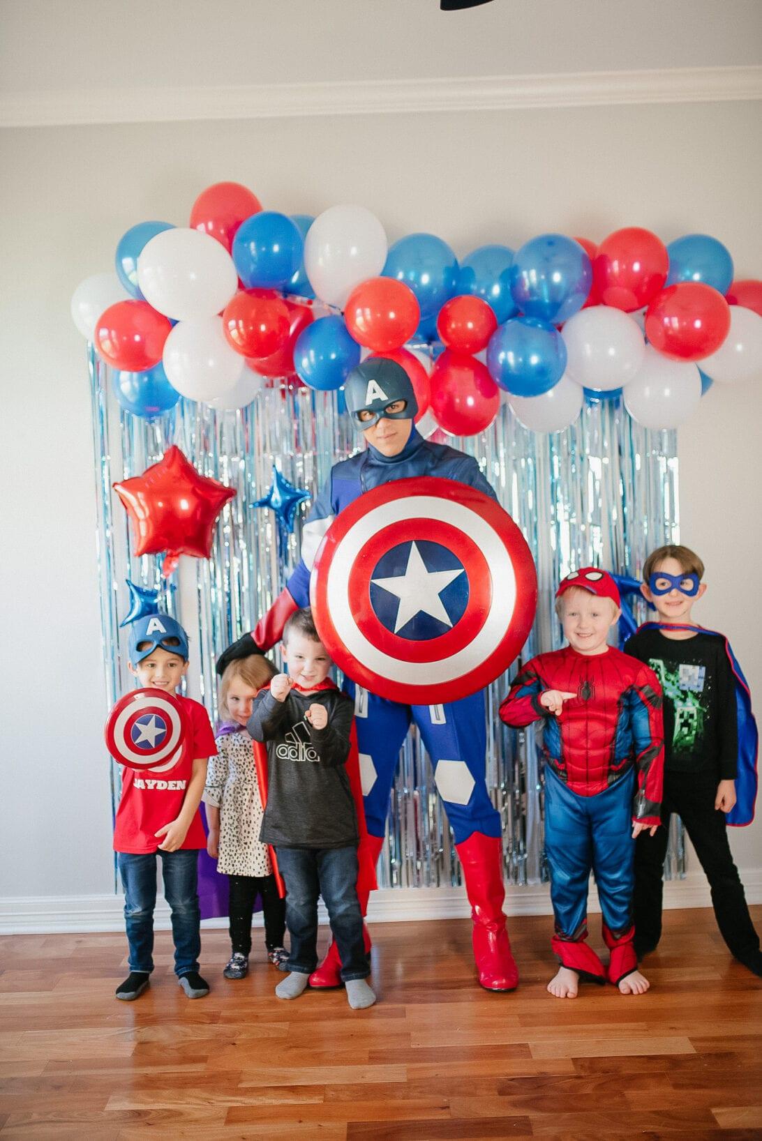 Captain America, birthday party, superhero party