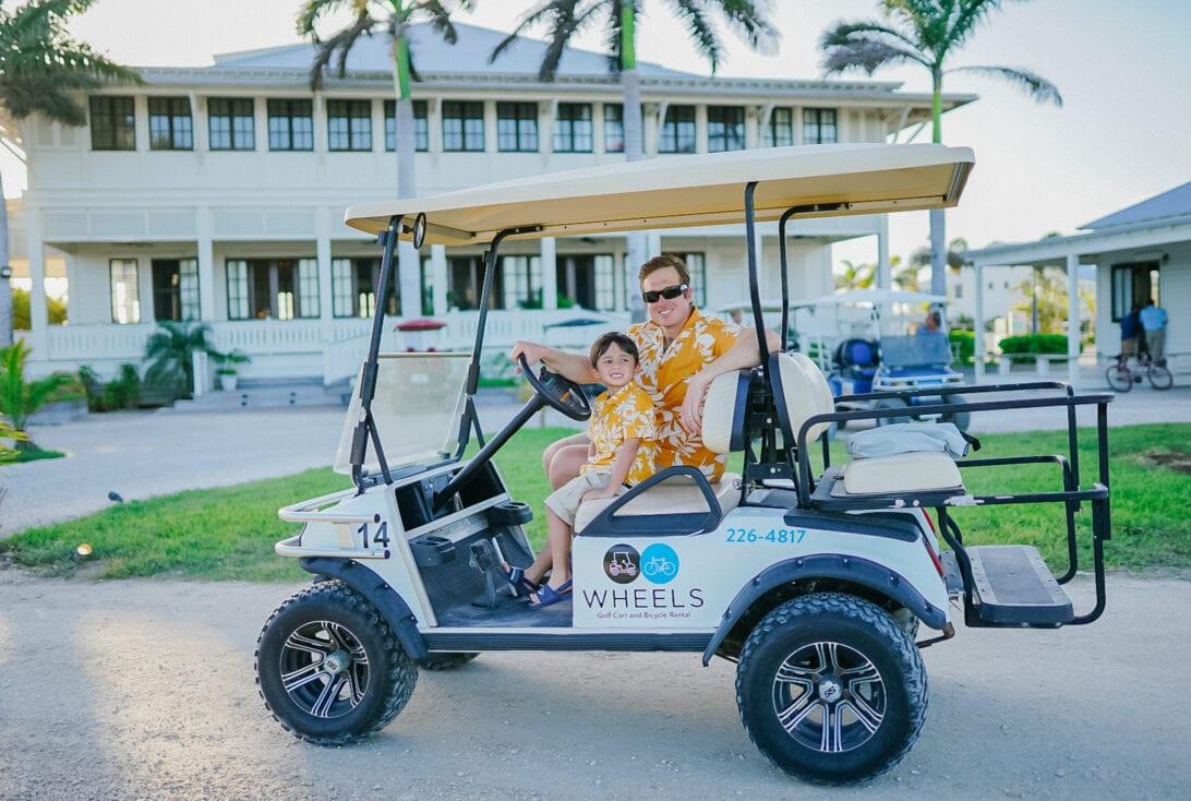 Mahogany Bay Resort, Main house, golf cart, San Pedro