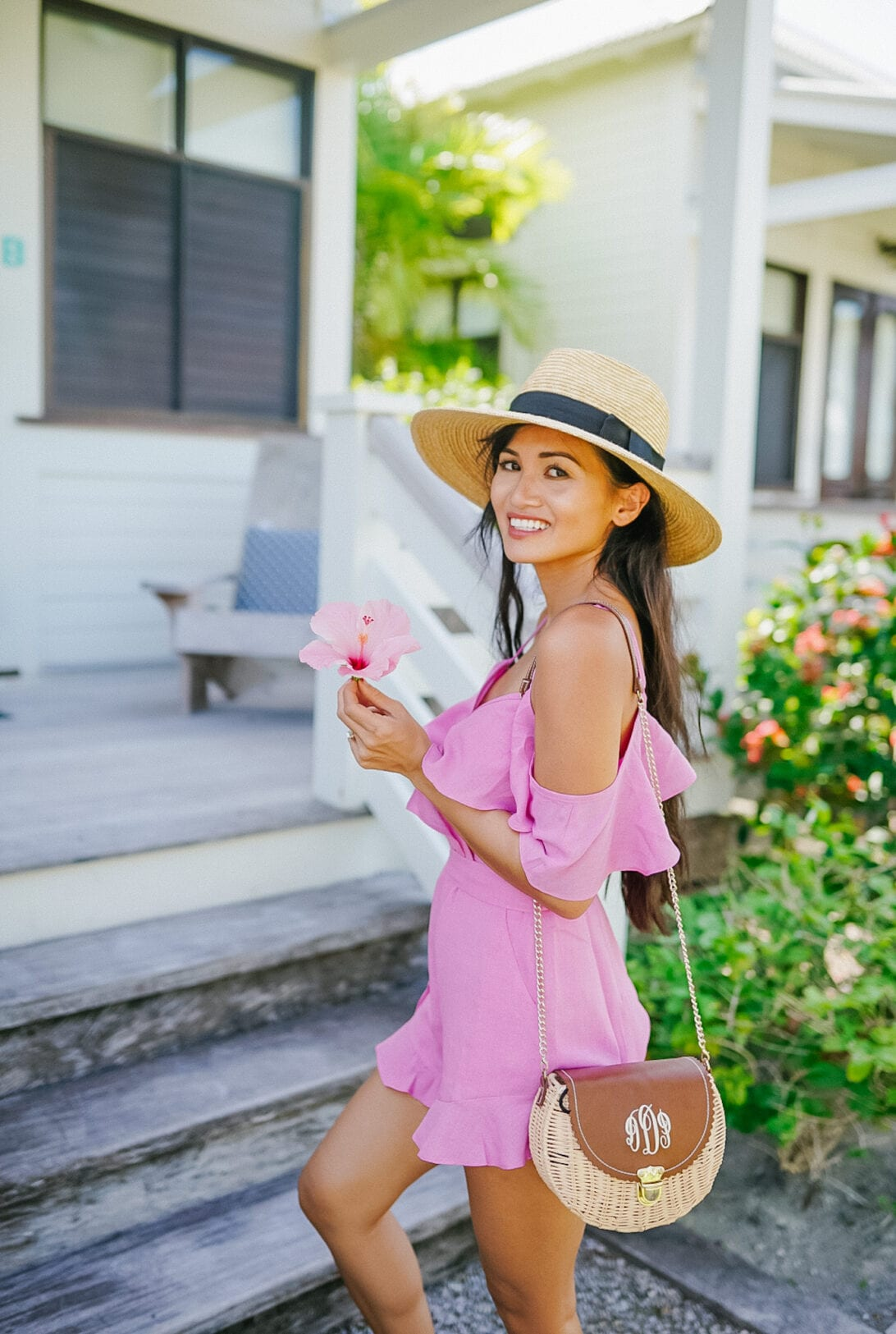 brixton hat, Red dress boutique, pink romper, pink playsuit, monogrammed straw bag, Marleylilly