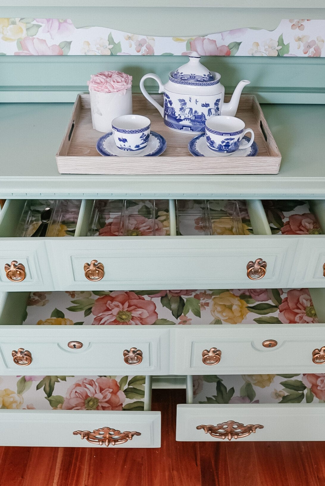 wall paper drawers, painted furniture, floral wall paper, China hutch, buffet