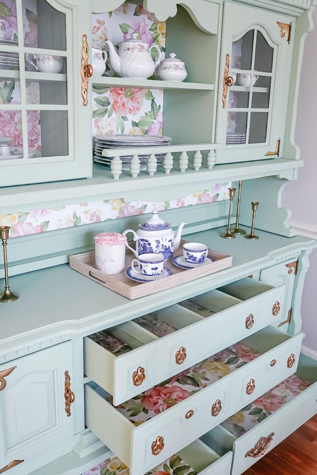dining room display china, china hutch, china display, fine china display, tea set display