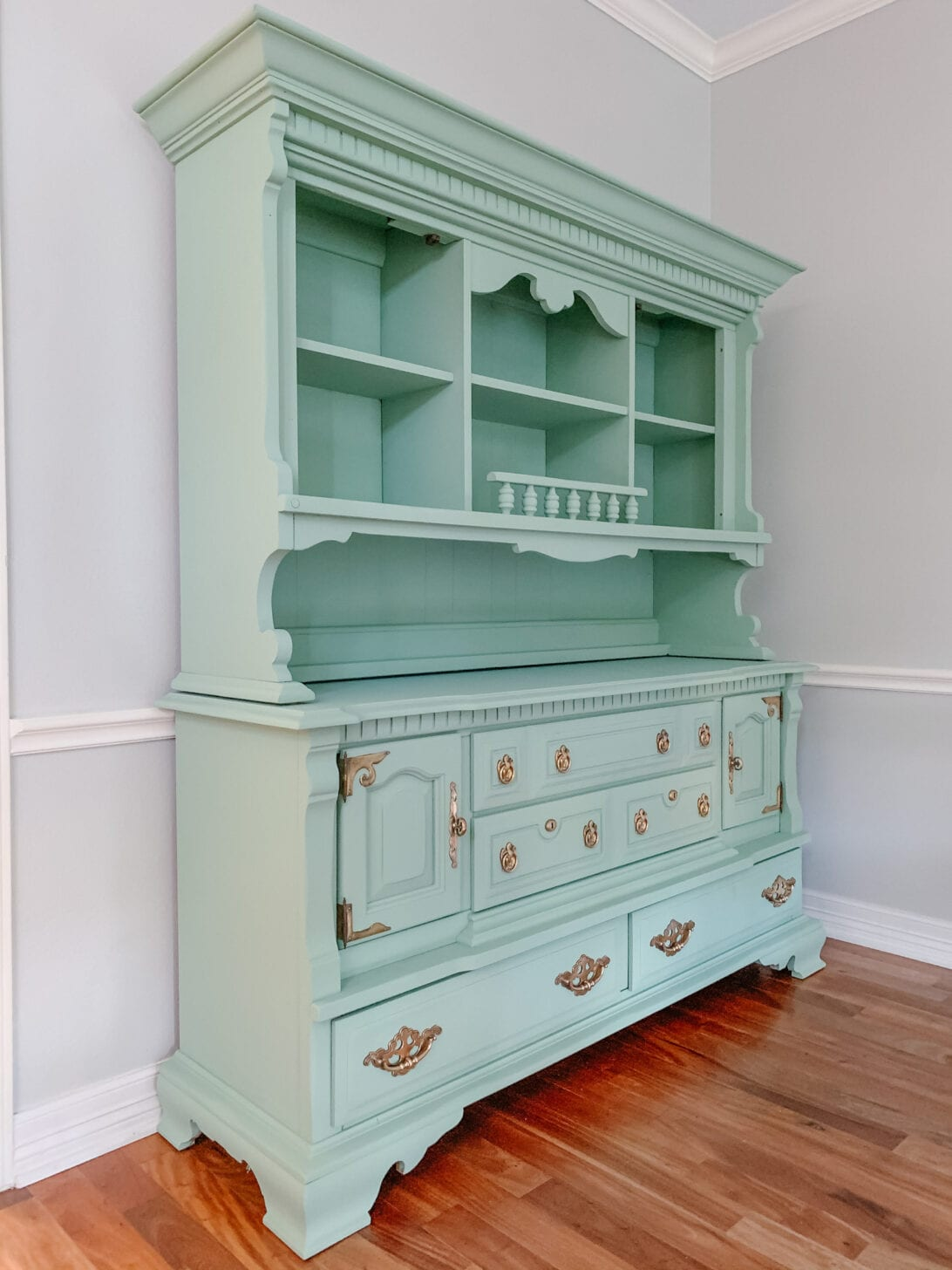 painted china hutch, green china hutch, chalk paint, painted furniture makeover