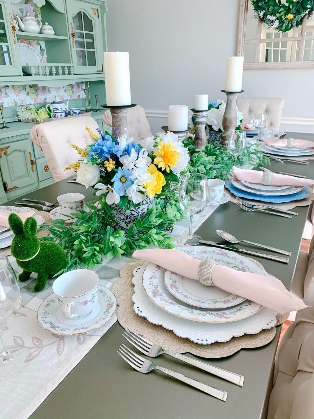 easter table decor, Easter table setting, Spring tea setting