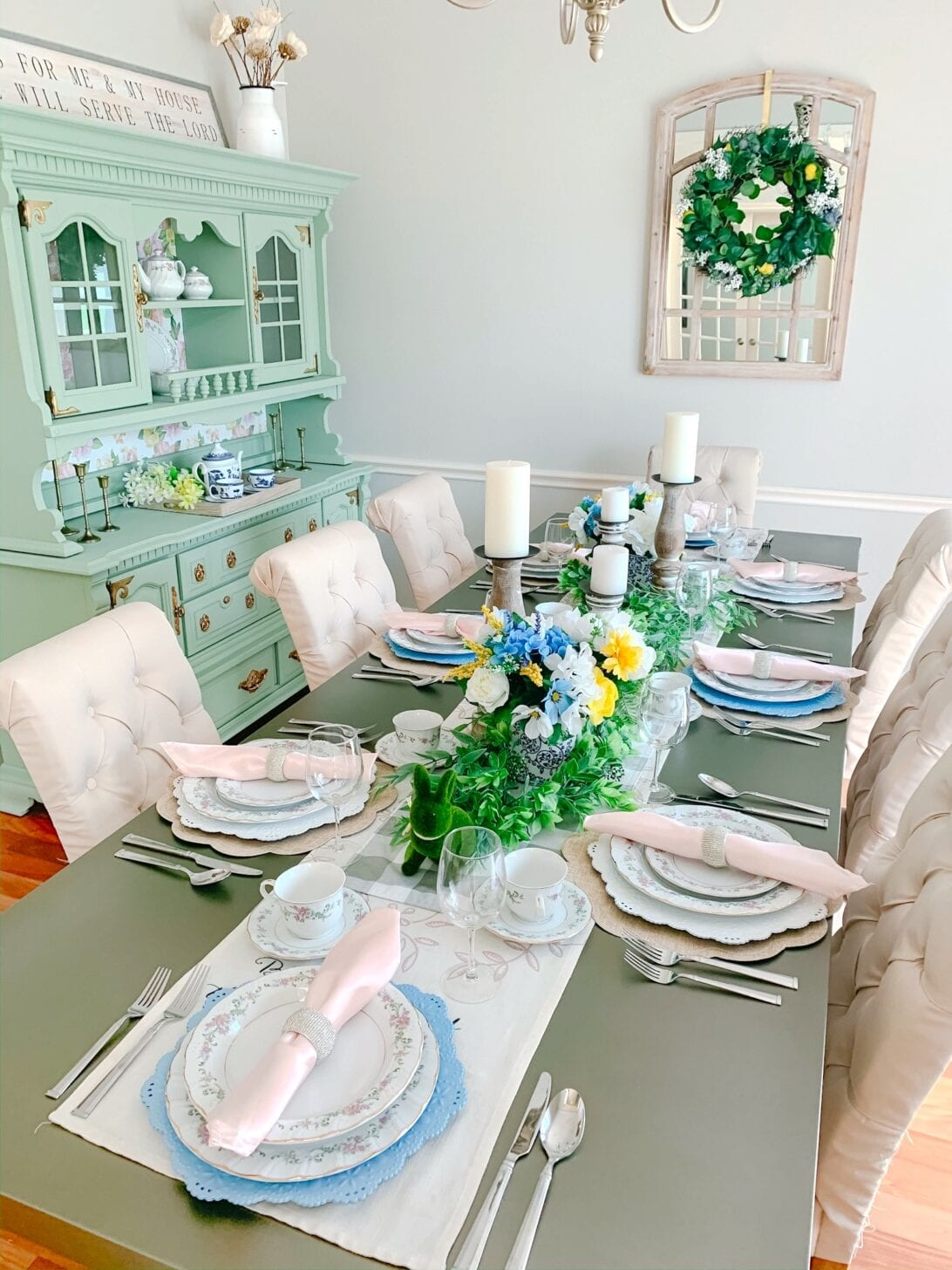 spring table setting, Summer table, dining room table, Easter table, Easter tablescape