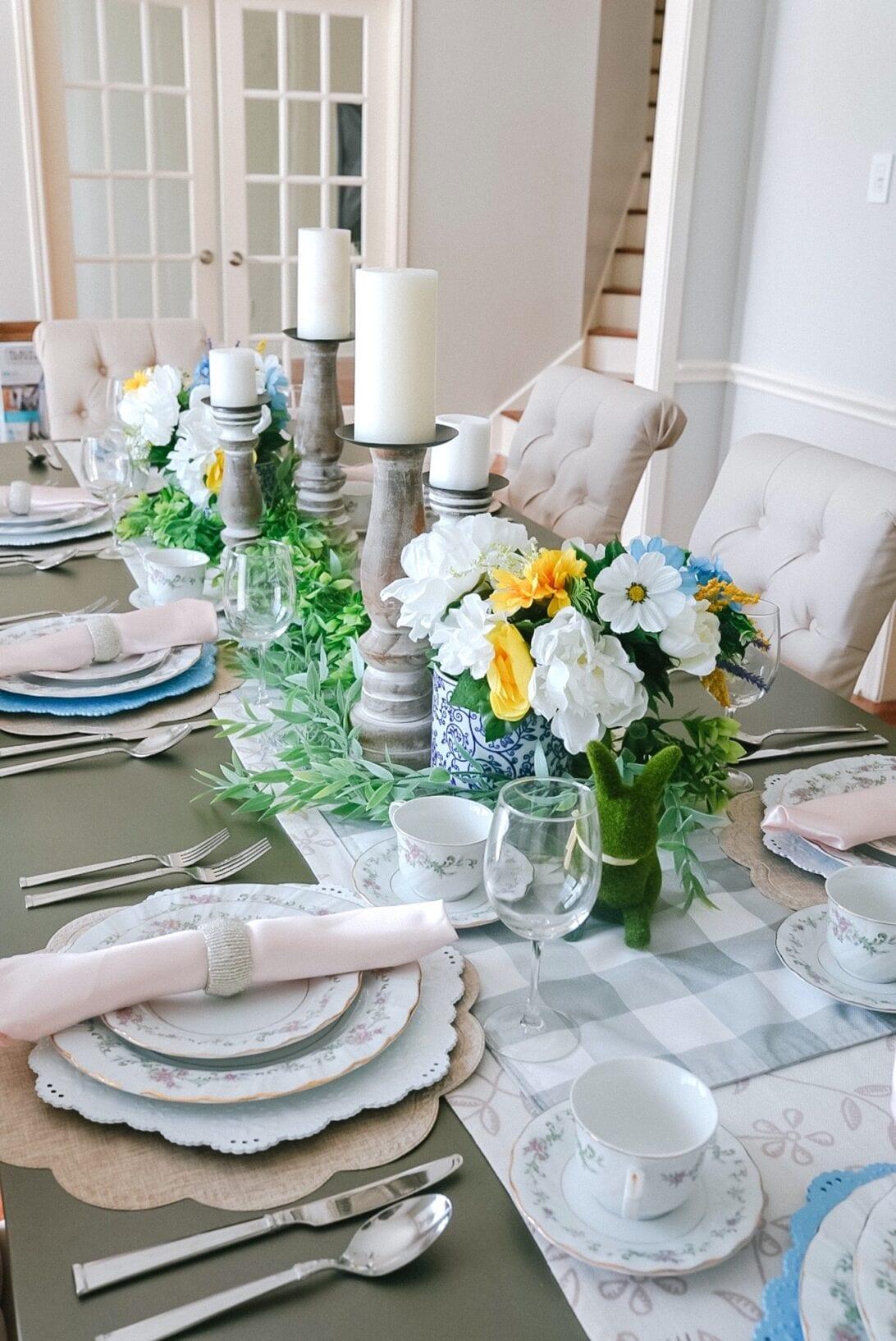 table setting, Easter table setting, floral table setting, tablescape, china dinnerware, napkins, tea set