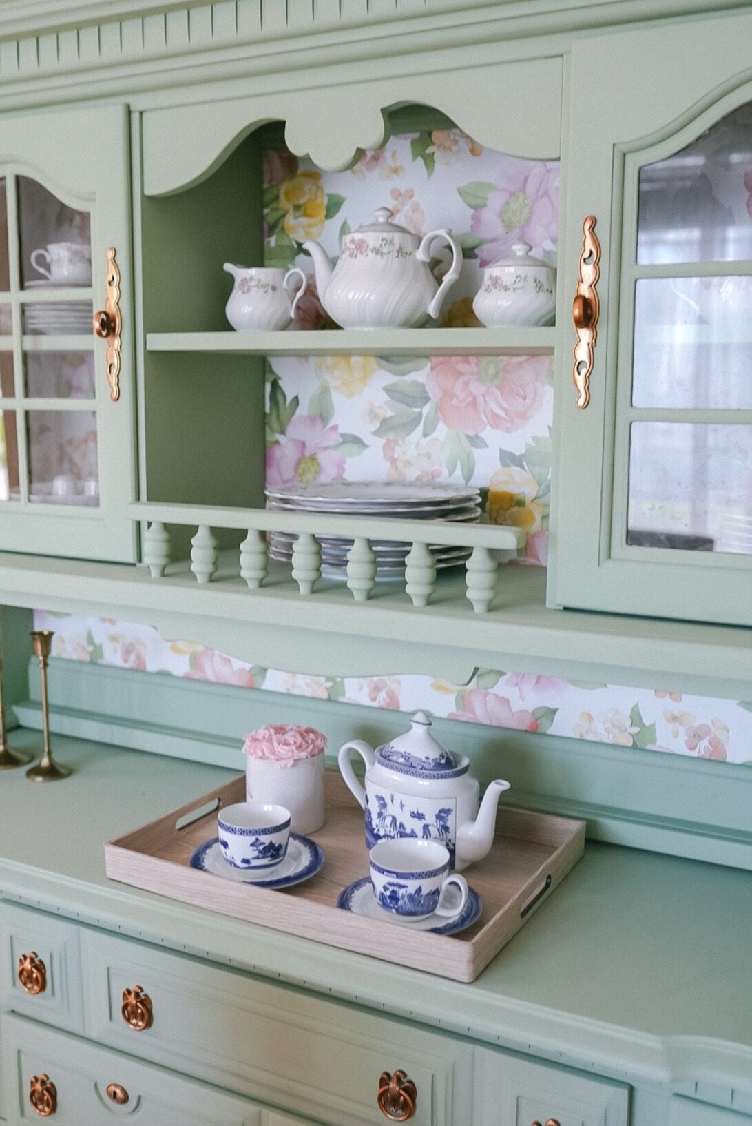 tea sets, china tea set display, French country tea set, china hutch DIY, painted china hutch, wall paper, floral wall papre