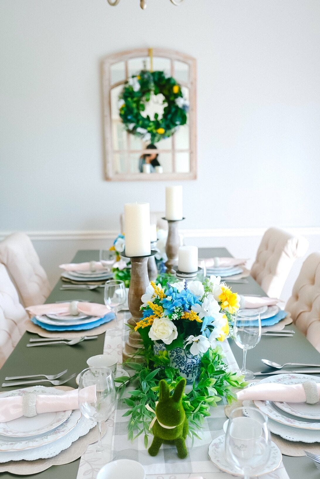 blue vase, china vase, floral vase, ginger jar, dining room mirror, wood candle holders