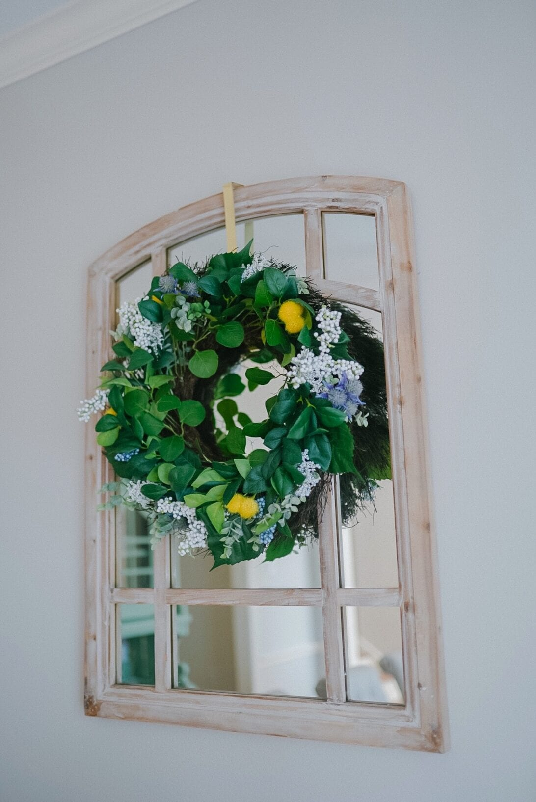 window pane mirror, rustic mirror, lemon wreath, spring wreath, summer wreath