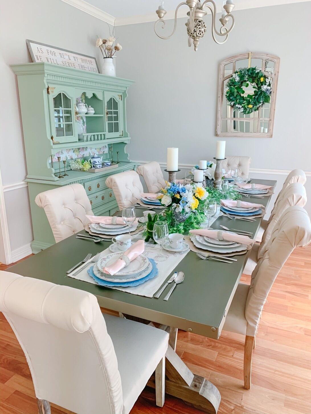 spring dining room, spring dining room decor, French country dining room decor, French country dining room, French country dining room setting