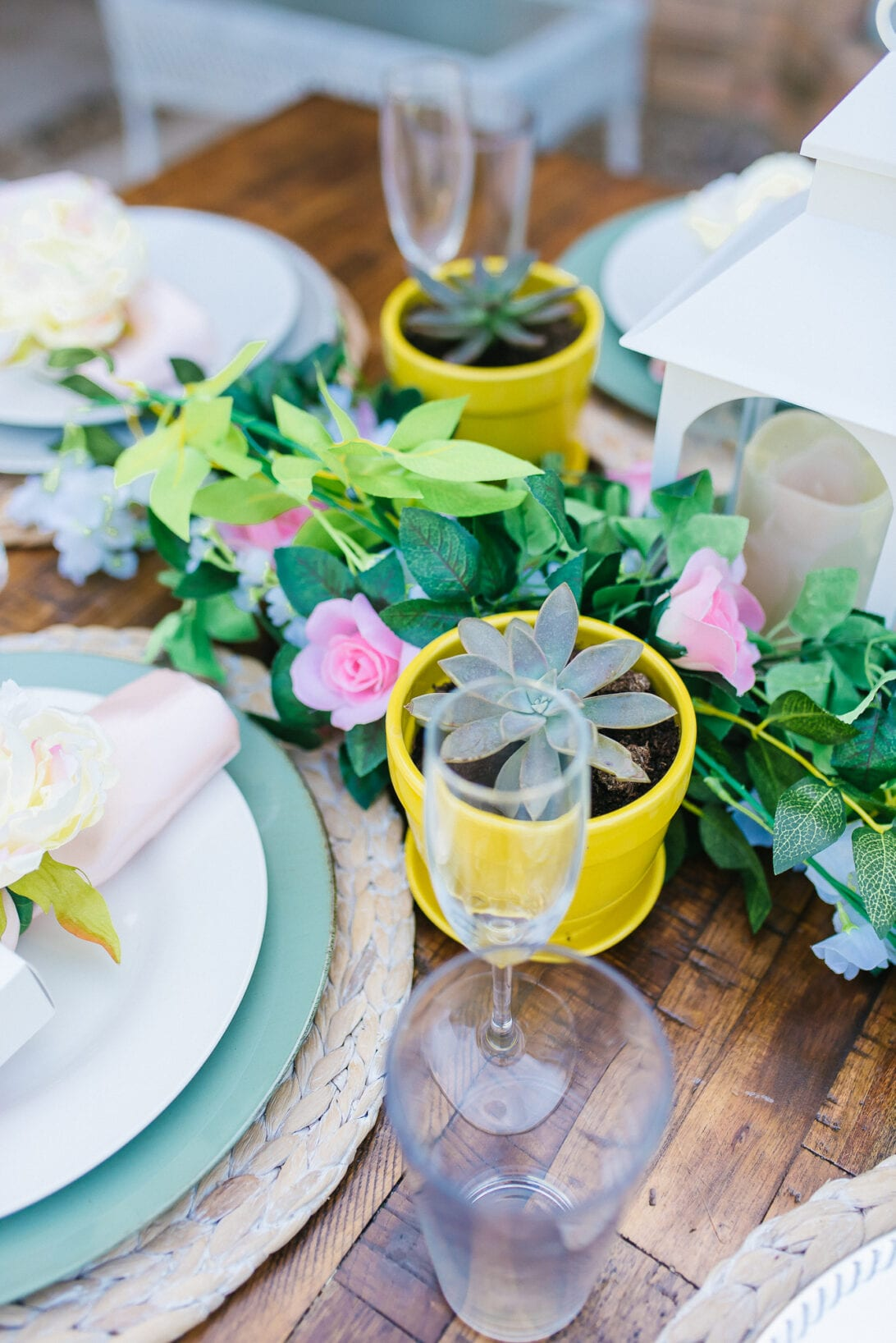 succulents, rose tablescape