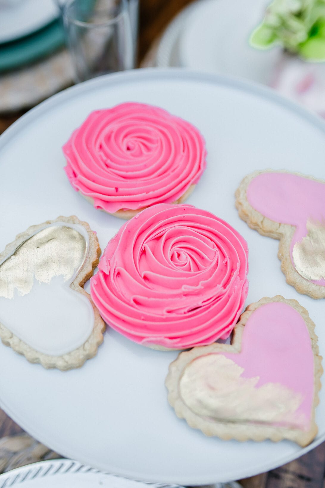 rose sugar cookie, heart sugar cookie