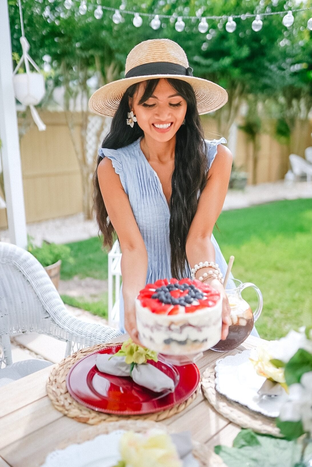 berry trifle, patriotic trifle, summer trifle, summer dessert, red white and blue dessert, patriotic themed dessert