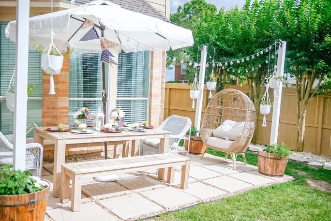 egg chair, patio makeover, patio diy