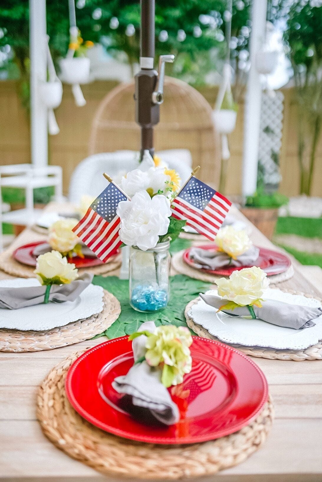 4TH OF JULY table center pieces, patriotic themed tablescape