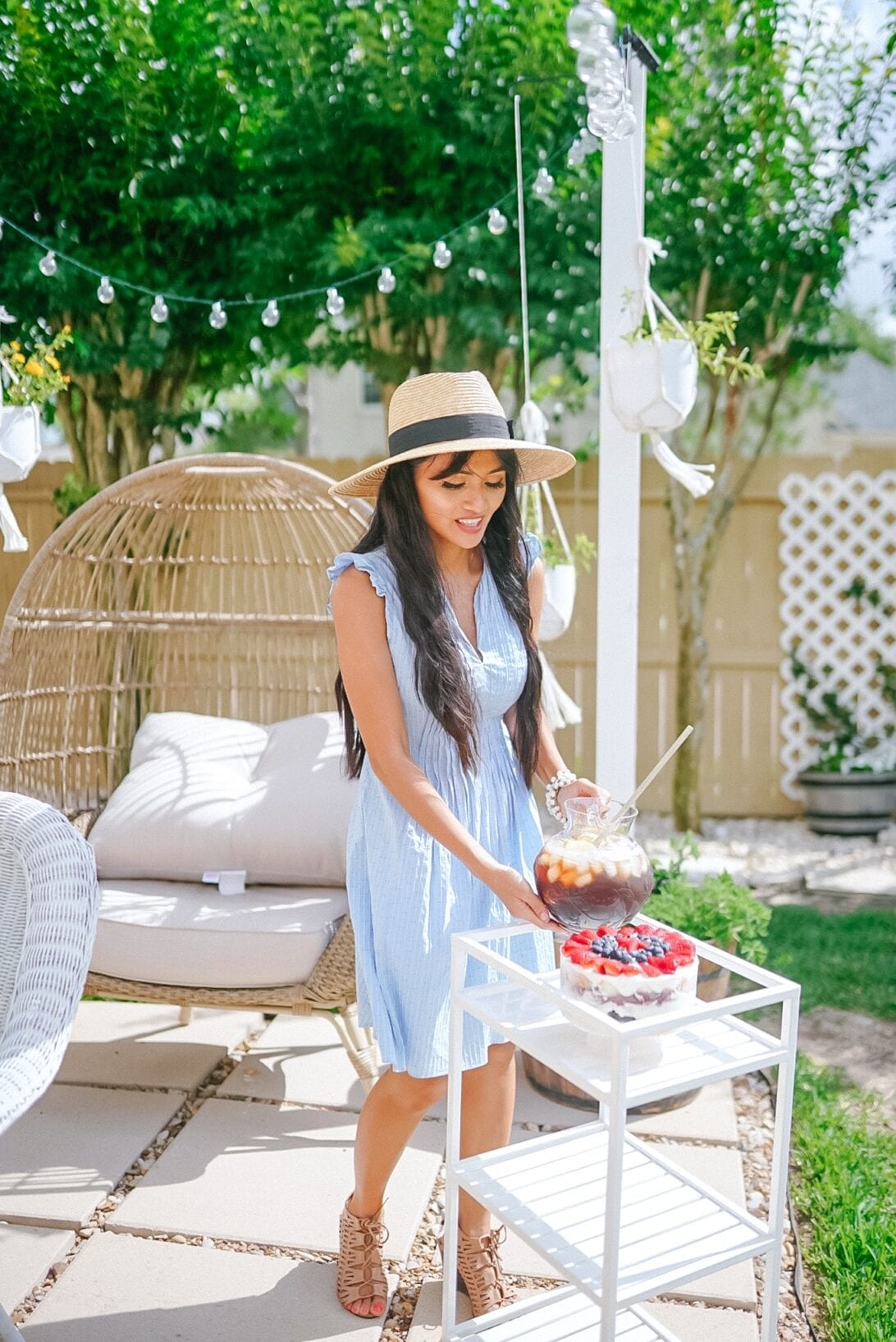 egg chair, rolling cart, ice tea, summer backyard