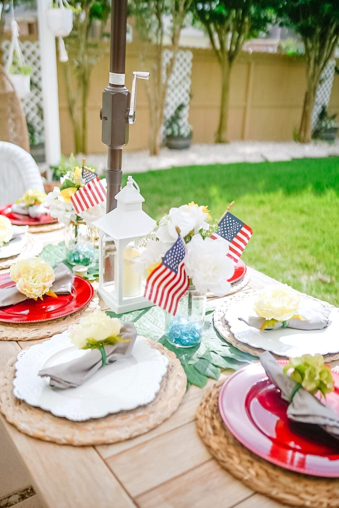 patriotic themed tablescape, American Flag tablescape, Patriotic table decor, red, white, and blue table decor